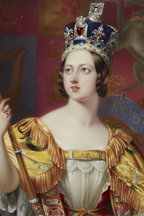 Coronation Portrait (detail) of Queen Victoria by George Hayter